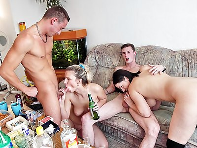 Cool student bash with sexy college fuck